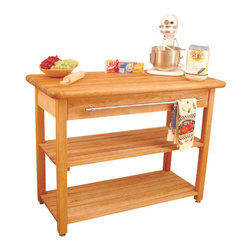Catskill Craftsmen - Catskill Craftsmen French Country Butcher Block Harvest Work Table in Natural - Catskill Craftsmen - Kitchen Carts - 1448 - Bring light and rustic styling to your home with the Catskill Craftsmen French Country Harvest Work Table. The space provided ensures there's room for plenty of kitchen utensils and cooking equipment. So prepare a meal fit for royalty with the French Country Harvest Table.