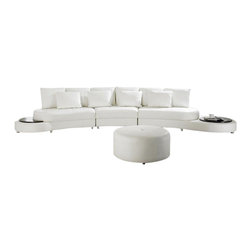 Scene Furniture - Daniel Sectional with Side Tables - The Daniel sectional from Scene Furniture is hand produced with soft genuine Italian leather and includes two large side tables that hold all your personal objects. The matching round ottoman is included.