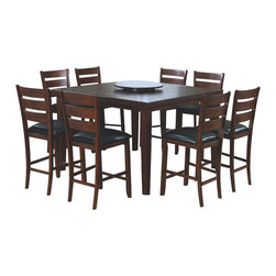 Monarch Specialties - Monarch Specialties 1833 9-Piece Square Pub Table Set - This pub dining table offers rich design and transitional styling that invites a relaxed setting in your home. The dark oak finish, top grooved slat design and lazy susan feature make this perfect for an intimate dinner with family or for casual get-togethers. Constructed from solid hardwoods and wood veneers this dining table is quality built and will provide years of lasting enjoyment.