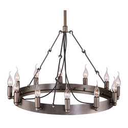 Zuo - Eternal Flame Metal Chandelier - The Eternal Flame Metal Chandelier features twelve bulbs that will light your space perfectly.  The rust-colored metal frame is round and has three supports connected to the main shaft.  Hang this rustic chandelier in your dining area or living space.  Add lamp shades for a more tailored look or leave as is for a minimalist look.