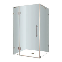 Aston - Aston Avalux 48x32x72, Completely Frameless Shower Enclosure, Stainless Steel - The Avalux square/rectangular completely frameless hinged shower enclosure series provides a contemporary, upscale showering experience in your already existing shower alcove. Available in a number of sizes, the Avalux comes ready to install, complete with 10mm ANSI-certified clear tempered glass, chrome or stainless steel hardware, premium clear leak seal strips and engineered for reversible left or right-hand door installation.