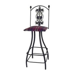 "Grace - Grapes 30"" Swivel Stool w/ Arms - Features: -Painted according to your choice of metal finish. -Ships fully assembled. -Dimensions: 18"" W x 20"" D x 49"" H. -Seat height: 30"". -Artistically crafted in wrought iron. -Available in 12 designer metal finishes. -Suited for Residential use only. About Grace Grace Manufacturing is a metal and wrought iron furniture manufacturing company located in Rome, GA. The company has been in business for 25 years and continues to employ skilled artisans and craftsmen. In addition to their state of the art manufacturing equipment they still assemble and finish many products by hand. Many items in the Grace Collection are fully hand made or hand painted. With products ranging from barstools, counter stools, and dinettes to wrought iron beds, hanging potracks, bakers racks and more, Graces line meets all professional and home needs. By implementing unique styles and ideas to traditional products, Grace has created an exceptional balance between creativity and practicality. Their design styles range somewhere between whimsical, neo classic and traditional, thus creating a truly astonishing decor for any inside space."