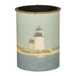 Mario Industries - Nautical Lighthouse Wastebasket - Wastebasket with beach motif. Warranty: One year. 9 in. W x 12 in. H (3 lbs.)Wastebasket with lighthouse design and rope top trim.