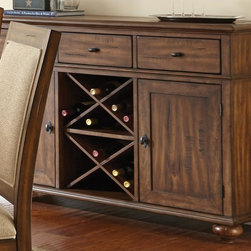 None - Robyn Server with Distressing and Wine Storage - Perfect for additional storage,the Robyn sever features three felt lined drawers,two spacious cabinets,and two removable wine racks. Finished in warm brown with hand applied burnishing accents and wormhole distressing