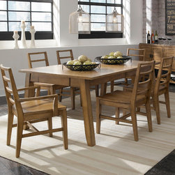 "Broyhill� - Ember Grove 7 Piece Dining Set - The casual contemporary Ember Grove dining is crafted with figured ash veneers in a weathered khaki finish. Features: -Set includes dining table, four side chairs and two arm chair. -Ember Grove collection. -2 Drawers and cord management. -One 18andquot; center leaf, extends to 90andquot;. -Additional side chair, arm chair and sideboard are optional. Dimensions: -Ember Grove Dining Table: 30"" H x 72"" W x 42"" D. -Ember Grove Slat Back Side Chair: 36"" H x 19"" W x 22.1875"" D. -Ember Grove Slat Back Arm Chair: 36"" H x 22.125"" W x 22.1875"" D. -Ember Grove Sideboard: 37"" H x 60"" W x 20"" D."