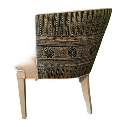 """Used Vintage Boho Chic Barrel Chair Lee Jofa Fabric - A vintage barrel chair with 8-way hand-tied springs, custom satin 'calcite' chalk paint finish. The chair has been completely refurbished with all new materials. The chair was professionally reupholstered by a veteran craftsman in Lee Jofa's high-end """"Indian Zag"""" indigo linen and soft, cream-colored boucle. This is a statement piece, for sure...functional, comfortable and lightweight too! It's easy to move from room to room for flexible auxiliary seating."""