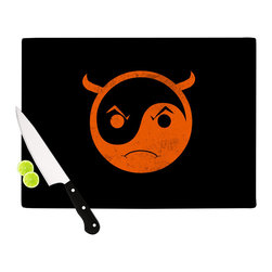 """Kess InHouse - Frederic Levy-Hadida """"Yin Yang Diablo"""" Cutting Board (11"""" x 7.5"""") - These sturdy tempered glass cutting boards will make everything you chop look like a Dutch painting. Perfect the art of cooking with your KESS InHouse unique art cutting board. Go for patterns or painted, either way this non-skid, dishwasher safe cutting board is perfect for preparing any artistic dinner or serving. Cut, chop, serve or frame, all of these unique cutting boards are gorgeous."""