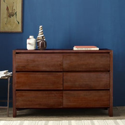 Boerum 6-Drawer Dresser - Café | west elm - Town and country. The solid-wood Boerum 6-Drawer Dresser merges laid-back country living with the cool calm of city sophistication. Every piece is subtly one of a kind, thanks to natural color variations in the mango wood.