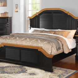 "Coaster - Oleta Eastern King Bed - Create a beautiful focal point for your master bedroom with the stunning Oleta bedroom collection. The arched shutter headboard with simple molding and low-profile footboard adds to the classic country cottage style. Matching pieces come in a rich black finish with attractive oak tops. Enjoy a calm and tranquil setting while you relax in bed with a morning cup of coffee with help from the Oleta collection. Collection: Oleta; Style: Country; Finish/Color: Black/Oak Finish; Box Spring Foundation required; Dimensions: 89.00""L x 84.00""W x 68.25""H"