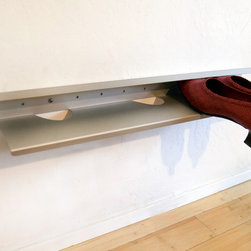 DOMU, LLC - SHOE SHELF - This practical yet elegant shelf organizes your shoes at the door or in the closet. Mount in a line end to end for more shoe storage. Unlike most shoe shelves, it is designed to be a stylish addition to any room. Our shoe shelf holds footwear in an elegant and beautiful way, worthy of being displayed at the door or in the foyer! Its durable anodized aluminum resists scuffs and scratches to give you years of organization. Stores 3 pairs of adult shoes, 4 pairs of children's shoes.
