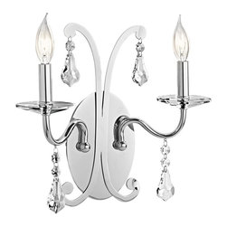 KICHLER - KICHLER Leanora Transitional Wall Sconce X-HC34524 - Glitzy, glamourous style oozes from this Kichler Lighting transitional wall sconce from the Leanora Collection. The polished Chrome finish draws attention to the laser cut details which are accented by crystal accents.