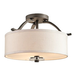 KICHLER - KICHLER 42485OZ Leighton Semi-Flush Mount Ceiling Light - A modern drum shade is blended with traditional elements for a stylish look on this Kichler Lighting semi flush mount ceiling light. From the Leighton Collection, the shade is a combination of fabric and glass construction while the finish is a warm toned Olde Bronze hue.