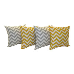 Land of Pillows - Zig Zag Chevron Corn Yellow & Storm Gray Set of 4 Chevron Modern Throw Pillows, - Fabric Designer - Premier Prints
