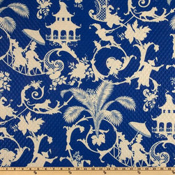 Waverly Sun N Shade Quilted Palm Palace Fabric, Marine - Chinoiserie prints are a personal obsession, and this fabric has a quilted texture that makes it unique among silhouette prints.