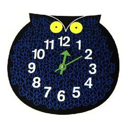 Vitra - Omar the Owl by Vitra - Who's there? Omar the Owl, designed in 1965 by George Nelson, is still a hoot. Perfect for kids' rooms or anywhere you want to add some zoo-timer fun. Silk screen-printed lacquered wood with metal hands. Requires one AA battery.