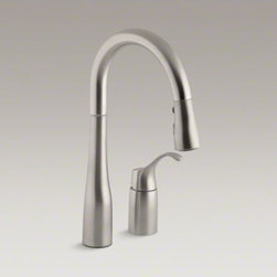"KOHLER - KOHLER Simplice(R) two-hole kitchen sink faucet with 14-3/4"" pull-down swing spo - An innovative fit for a variety of kitchens and tasks, this Simplice bar or prep sink faucet combines an elegant, universal design with exceptional ergonomics and functionality. The high-arch swing spout rotates 360 degrees, while the smoothly maneuvering"