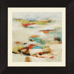 """Paragon Decor - New Perspective Artwork - Brighten up those boring walls with this dynamic piece, """"New Perspective"""" which features an abstract rendering of a cluster of contrasting colors. The divisions in this piece accentuate the beauty that can be found in contrasting rust, crimson, and salmon reds, bright mustard yellows and calm sea-glass blues and cr�me-colors. It is surrounded by an off-white matte and placed within a simple black frame. This piece measures 37 inches wide, 2 inches deep, and 37 inches high."""