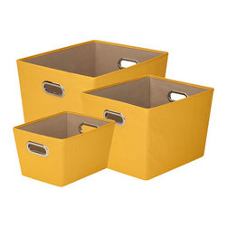 Honey Can DO - Yellow Storage Bins, Set of 3 - Designed to hold everything from books to toys to bathroom essentials, this yellow set of 3 storage bins add plenty of extra storage and a pop of color to any room. Great for car trunks, kids rooms, closets, shelving units, and more.