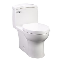 "Roycroft One-Piece Elongated 1.28 gpf Toilet - Vitreous chinaElongated bowl designHigh efficiency (1.28 gpf/ 4.8 Lpf)4"" Flush valve with chemical resistant flapperSiphon action jetted bowl with a 2-1/8"" trapwayPlayful and flowing one-piece designNormal bowl height 16-1/2""Includes a high quality Duroplast slow-close toilet seat9-1/4"" x 8-1/4"" water surface area12"" Rough-inChrome metal trip lever"
