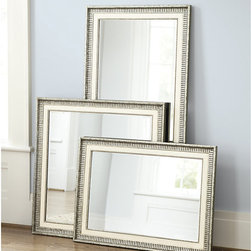 Ballard Designs - Aubrey Mirror - Generously beveled. Hang either way. We wanted to create a mirror that would work in any space, from traditional to modern. The classic ivory is framed in warm antique silver molding for a timeless look. Hand crafted of ribbed wood with bead detailing. Aubrey Mirror features:. .