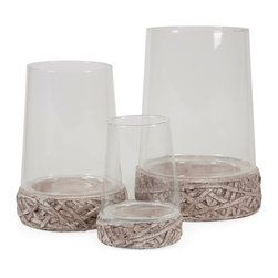 Hainsworth Open Top Glass Cloches - Set of 3 - *Adding a modern twist to the cloche trend, this set of three open top glass cloches sit on cement bases accented with an organic texture. Great for creating living terrariums or using your favorite moss covered fillers, the possibilities are endless!