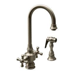 Whitehaus - WHKSDCR3-8104-BN Brushed Nickel Faucet - Whitehaus Vintage III dual handle entertainment/prep faucet with short gooseneck swivel spout