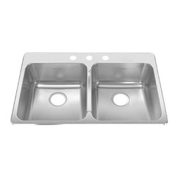 American Standard - Single Hole Stainless Steel Topmount 33.38 in x 22 in Double Bowl Kitchen Sink - American Standard 15DB.332211.073 Single Hole Stainless Steel Topmount 33.38 inch x 22 inch Double Bowl Kitchen Sink in Brushed Stainless Steel.