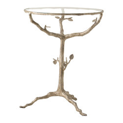 Kathy Kuo Home - Sherwood Sculpted Tree Branch Light Gold Pedestal Side Table - With a nod to art nouveau and the beauty of nature's own design, this gold branch and leaf style table brings organic elegance home.