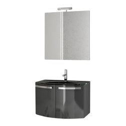ACF - 28 Inch Glossy Anthracite Bathroom Vanity Set - Set Includes: Vanity Cabinet (2 Doors).