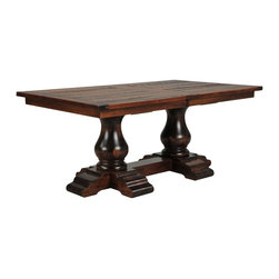Kensington Extension Dining Table - Exuding classic elegance that transcends time and trends, the Kensington dining table is destined to become an heirloom treasure that your family will cherish forever. With its graceful pedestal-style trestle base and planked top, this table is the grand centerpiece of the beautifully handcrafted Kensington collection. Made of solid American brown maple hardwood, the piece exhibits the artisans' unfailing allegiance to excellence.