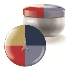Fringe Studio - Fringe Studio Brody Tin Eiffel Icon Candle - Decorated printed tin vessels are filled with Fringe Studio's exclusive wax blends which are highly fragranced and hand-poured. Burn time of 30 hours. 6 oz. Candles are not gift boxed.