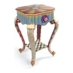 Epaulet Accent Table | MacKenzie-Childs - Hand-painted, solid mahogany top and apron, with a carved beaded edge. Hand carved Acanthus leaf legs decorated with gold leaf and copper verdigris, backed with a rich Moroccan red. Shelf is hand-painted in Courtly Check® and trimmed in gold leaf. Ceramic drawer knob with a ribbon ruff. Imported frame, hand decorated in Aurora.