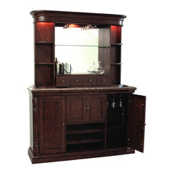 Howard Miller - Niagara Wine & Spirits Console & Hutch Set - Host the most enjoyable parties with this distinctive Niagara console and hutch set made specifically for wine and spirits.  Its array of special storage compartments securely store and display such items as stemware  bottles, and your finer aperitifs. * The rare, Italian marble laminated top provides an elegant surface for serving drinks and is removable for easy handling. Fixed bottle opener. Removable catch basket. Towel bar attached to the inside of the cabinet's center doors. Wooden hanging stemware racks. Locking cabinet doors. Keeps your wine and spirits secure. Two removable wine rack rows hold up to 12 bottles, with additional room below for serving tray storage. Adjustable wood shelf with Pad-Lock metal shelf clips. Adjustable levelers under all corners. Console: 42.125 in. H x 64.75 in. W x 18.125 in. D. Hutch: 44.125 in. H x 61 in. W x 12.5 in. D. The back bar can be secured to the console with two metal brackets. Hanging stemware rack. Glass mirrored back. Adjustable shelves with Pad-Lock metal shelf clips. One adjustable glass shelf in the center and four adjustable wood shelves with glass inserts on the sides of the hutch display your collectibles and wine & spirits. Four small cubbie drawers at the base of the hutch hold smaller items such as corkscrews and bottle stoppers. No-Reach roller on/off light switch features three incandescent lights that illuminate the back bar