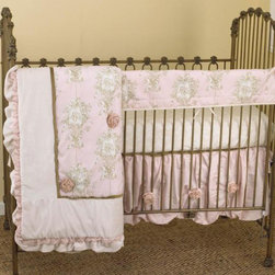 Cotton Tale Designs - Lollipops & Roses Front Crib Rail Cover Up Set - A quality baby bedding set is essential in making your nursery warm and inviting. All N. Selby patterns are made using the finest quality materials and are uniquely designed to create an elegant and sophisticated nursery. Lollipops & Roses is a graceful collection of pinks, cream, and tan. Lollipops & Roses Front Crib Rail Cover Up Set includes fitted crib sheet, dust ruffle, coverlet, and front crib rail cover up. The Lollipops & Roses front cover up is both function and design, measuring 51 x 15. What a great idea, this front rail cover up protects your foot board on the convertible cribs and it looks great. For the parent choosing not to use a bumper, it can add the needed decor lost when the bumper is removed. The dust ruffle is of pink shimmer and is accented with organza ribbon roses. Pink angel toile, cream minky, pink shimmer, and tan velvet come together in this stylish coverlet adorned with organza ribbon roses. Complete the bedding set with a natural floral print fitted sheet. Perfect for your little angel. NO STANDARD BUMPER in this set.