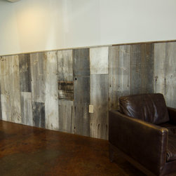 Collective Coffee Company - Reclaimed barn wood provided by Reclaimed DesignWorks was used for this rustic wainscoting.