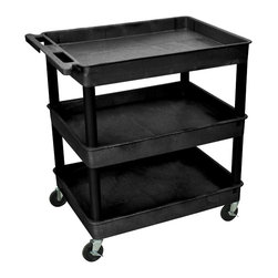 """Luxor - Luxor Tub Cart - TC111-B - These Luxor TC series utility carts are made of high density polyethylene structural foam molded plastic shelves and legs that won't stain, scratch, dent or rust. Features a retaining lip around the back and sides of flat shelves. Includes four heavy duty 4"""" casters, two with brake. Has a push handle molded into the top shelf."""