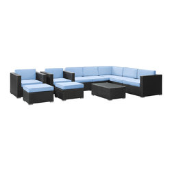 Modway - Modway EEI-826 Avia 10 Piece Sectional Set in Espresso Light Blue - Surround yourself with a modern landing pad of exploration. Positioned to advance your outdoor patio, backyard, or pool area, Avia helps you bestow acceleration to your outward achievements and social celebrations.