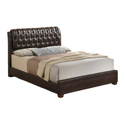 Global Furniture - Global Furniture Queen Bed Brown - Designed with appealing details and a high back, this stylish bed will be the focal point of your bedroom. Upholstered with a generously plush dark brown faux leather headboard, complete with button-tufted detail and block wooden legs to complete this look