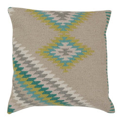 "Surya LD034-2020P 100% Linen w/ Cotton Detail 20"" x 20"" Decorative Pillow - Add character to any room with this pillow accented with oyster gray and aqua. This pillow has a polyester fill and a zipper closure. Made in India with one hundred percent Linen and cotton detail, this pillow is durable and priced right. Filler: Poly Fiber. Shape: Square"