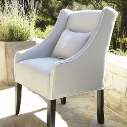 Horchow - Outdoor Upholstered Chair - This elegant, handcrafted chair is so pretty, it doesn't seem possible that it's intended for outdoor use. But it is made specifically to stand up to the elements, with its Georgia treated-wood frame and stain- and mold-resistant Sunbrella® acrylic...