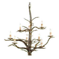 Currey & Company - Currey & Company Treetop Large Chandelier CC-9327 - Intricate hand forging on a hollow iron rod is work that requires great iron working skill.