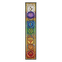 "Circles of Light Imports LLC - Kundalini Chakra Ladder, Full Color Tapestry as Shown, 11.25"" X 63.25"" Wall Hang - Kundalini Chakra Ladder"