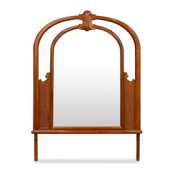 China Furniture and Arts - Rosewood French Design Mirror - An opulent curve French mirror framed in richly beautiful rosewood. Perfectly for placing on top of dresser. Hand applied natural finish with beveled mirror.