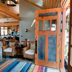 Rustic Front Entry Door - Custom front entry door in rustic, reclaimed Douglas Fir wood species. This door complements the wood ceiling and warmth of the entranceway.