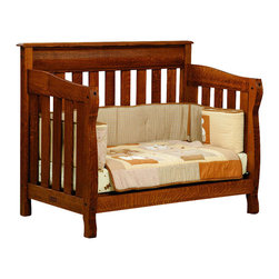 Chelsea Home Furniture - Chelsea Home Cambridge Crib with Toddler Rail in Asbury Brown Stain - As children go through stages as they grow, so should their furniture. The Cambridge Convertible Crib Set, shown in White Quartersawn Oak and Asbury Brown stain, is a solid wood 3-stage bed system that is constructed with quality and durability to transition any newborn into adulthood with simplistic sophistication. The curved slats and feet compliment the stream line sides of crib. This CPSC 16 CFR 1219 and 1220 compliant convertible piece is complete with guard rail and 3-level mattress support, and simple transition instructions to keep your child resting easy and comfortable. Chelsea Home Furniture proudly offers handcrafted American made heirloom quality furniture, custom made for you. What makes heirloom quality furniture? It's knowing how to turn a house into a home. It's clean lines, ingenuity and impeccable construction derived from solid woods, not veneers or printed finishes over composites or wood products _ the best nature has to offer. It's creating memories. It's ensuring the furniture you buy today will still be the same 100 years from now! Every piece of furniture in our collection is built by expert furniture artisans with a standard of superiority that is unmatched by mass-produced composite materials imported from Asia or produced domestically. This rare standard is evident through our use of the finest materials available, such as locally grown hardwoods of many varieties, and pine, which make our products durable and long lasting. Many pieces are signed by the craftsman that produces them, as these artisans are proud of the work they do! These American made pieces are built with mastery, using mortise-and-tenon joints that have been used by woodworkers for thousands of years. In addition, our craftsmen use tongue-in-groove construction, and screws instead of nails during assembly and dovetailing _both painstaking techniques that are hard to come by in today's marketplace. And with a wide array of stains available, you can create an original piece of furniture that not only matches your living space, but your personality. So adorn your home with a piece of furniture that will be future history, an investment that will last a lifetime.