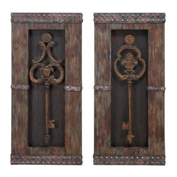Antique Key Wood Wall Decor - Set of 2 - 14W x 30H in. ea.