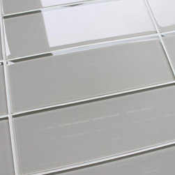"Rocky Point Tile - 3"" x 6"" Sample - Country Cottage 4"" x 12"" Glass Subway Tiles - 3"" x 6"" color swatch of Country Cottage 4"" x 12"" glass subway tiles. This color is a very light taupe that is warm and neutral making it an easy choice for your kitchen or bathroom project. Customers just love how easily this color ties in with other elements of their project. These tiles come loose packed giving you the option to arrange them in the pattern of your choice. Each tile is back painted and has a high gloss finish."