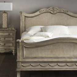Horchow - Clairee California King Sleigh Bed - A classic parchment finish and swag detailing make this bedroom group a traditional choice for the guest or master bedroom. English and French dovetail construction ensure it will stand the test of time. Handcrafted of wood and resin. Queen sleigh be...
