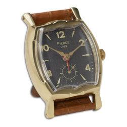 UTTERMOST - Wristwatch Alarm Square Pierce Alarm Clock - Brass rim with leather stand.