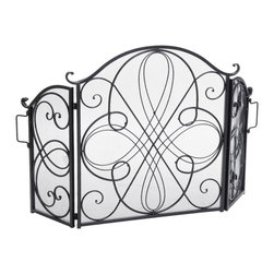 Great Deal Furniture - Rosalinda Floral Iron Fireplace Screen, Silver Finish - The Rosalinda Fireplace Screen is beautifully crafted out of iron and highlights ornate design work on the face of the screen. The sophistication of this fireplace screen adds a refined look to any fireplace filled room.